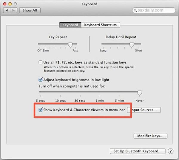 bàn phím trợ năng trên máy mac